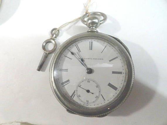 1887 Elgin Pocket Watch Key Wind Key Set 18 Size 57mm Running