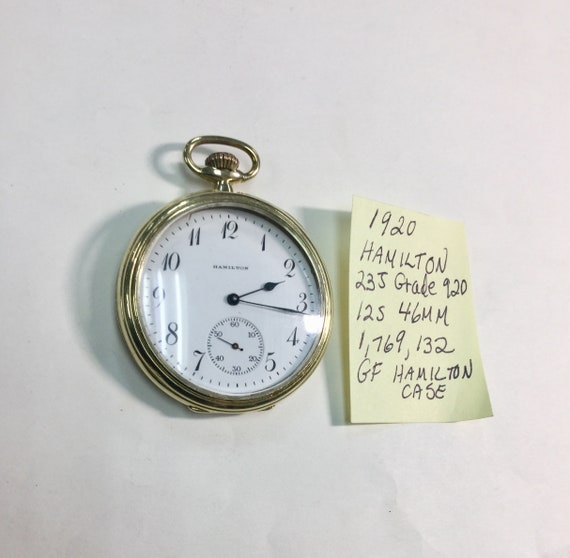 1920 Hamilton Pocket Watch 23J  Grade 920 12S  46mm Just Serviced