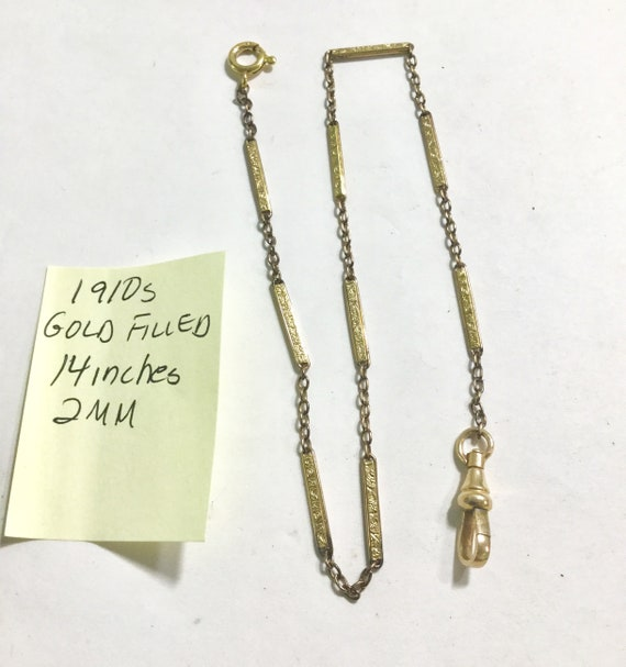 1910s Pocket Watch Chain Gold Filled 14 Inches 2mm