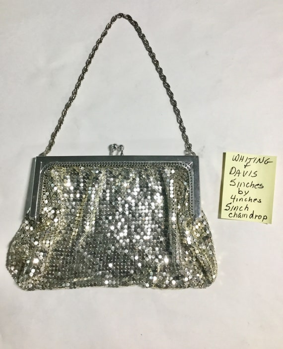 1950s Whiting & Davis Mesh Evening Handbag 5 inches by 4 inches 5 inch chain drop
