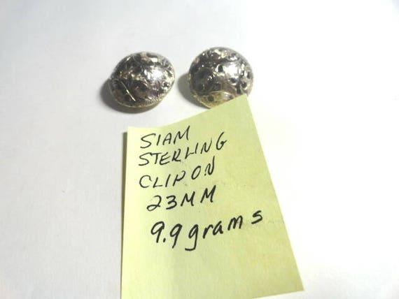 1950s Siam Sterling Clip on Earrings 23mm 9.9 grams