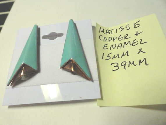 Vintage 1950s Matisse Copper and Enamel Clip Earrings 15mm by 39mm