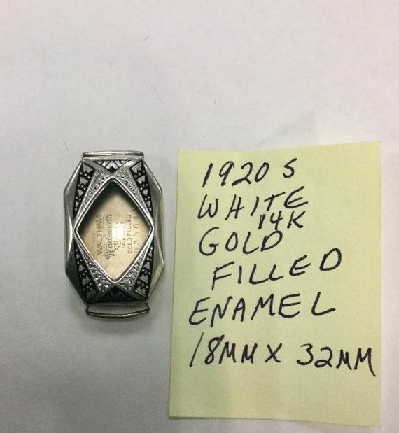 1920s 14k White Gold Filled Enamel Watch Case 18mm by 32mm Wadsworth Case
