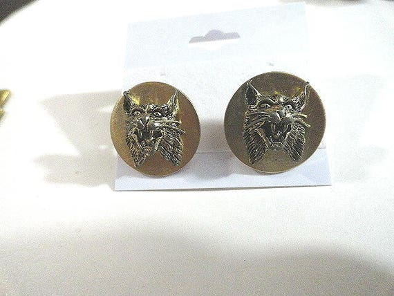 Vintage Anson Cuff Links Angry Wild Cat  3/4 Inch Gold Tone