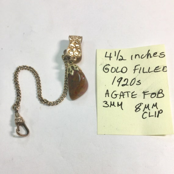 1920s Gold Filled Clip On Pocket Watch Chain with Agate Fob 4 1/2 iches 3mm 8mm Clip 10mm by 18mm Fob