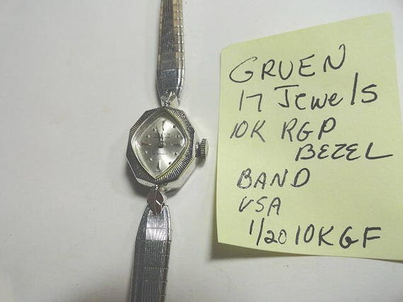 Vintage 1960s Ladys  Gruen White Gold Filled 17 Jewel Hand Wind Wristwatch with Gold Filled Band 16mm