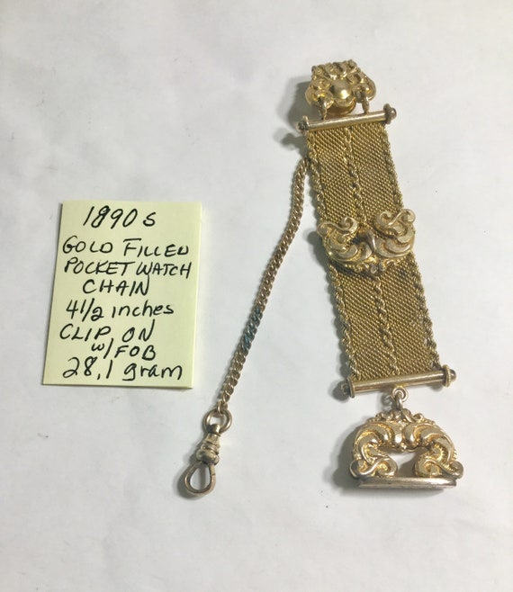 1890s Gold Filled Pocket Watch Chain 4 1/2 Inches Clip On with Fob
