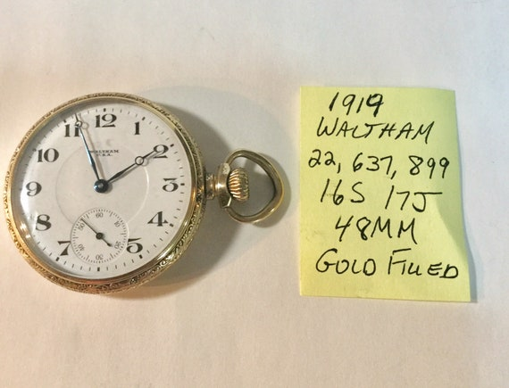 1919 Waltham Pocket Watch 17J 16S Running 48mm Gold Filled Case 22,637,899