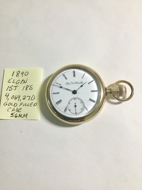 1890 Elgin Pocket Watch 15J 18S 56mm Gold Filled Case Running