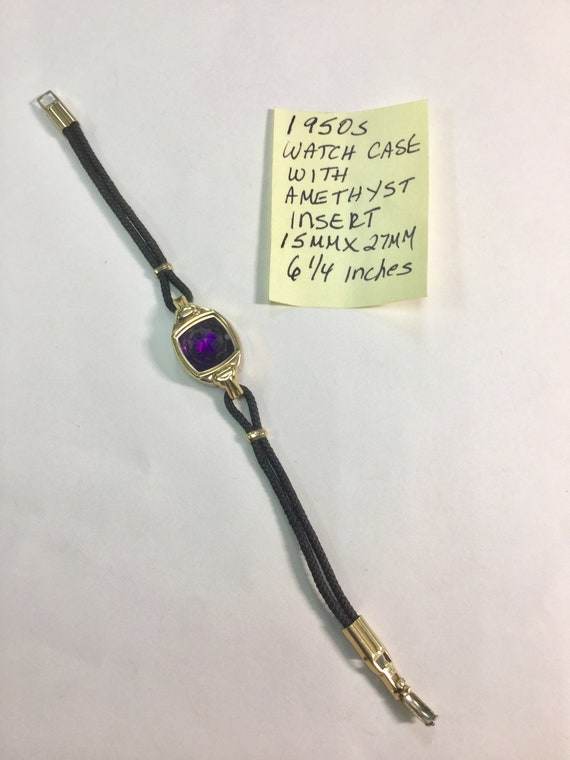 1950s Ladys Watch Case with Amethyst Gemstone Insert and Cord Band 15mm by 27mm 6 1/4 inches long