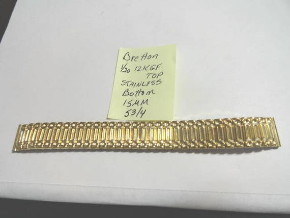 Vintage 1940s Bretton Gold Filled Expansion Band 15mm Ends 5 3/4 Inches Long