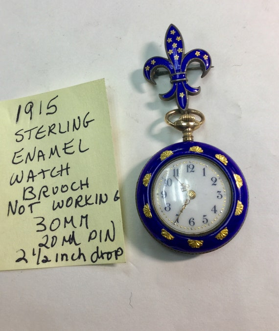 1914 New England Watch Co Sterling Enamel Watch Brooch  with Matching  Watch Not Running
