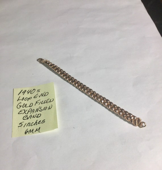 1940s Ladys Loop End Gold Filled Expansion Band 5 inches 6mm