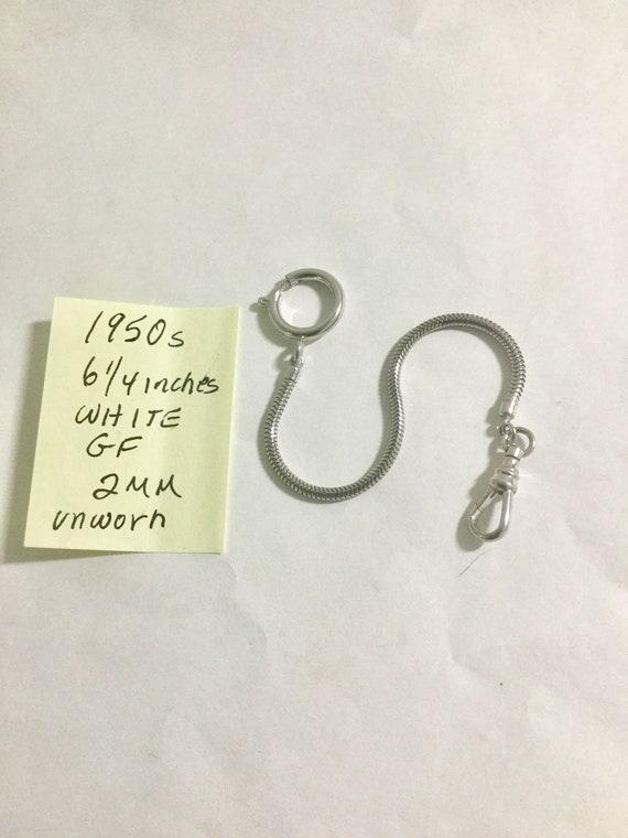 1950s Pocket Watch Chain 6 1/4 inches White Gold Filled 2mm Unworn