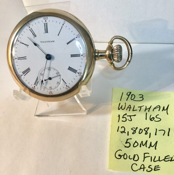 1903 Waltham Pocket Watch 15J 16S 50mm Gold Filled Case Running  12,808,171