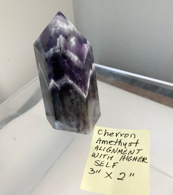 """Chevron Amethyst Point Alignment with Higher Self 3"""" x 2"""""""