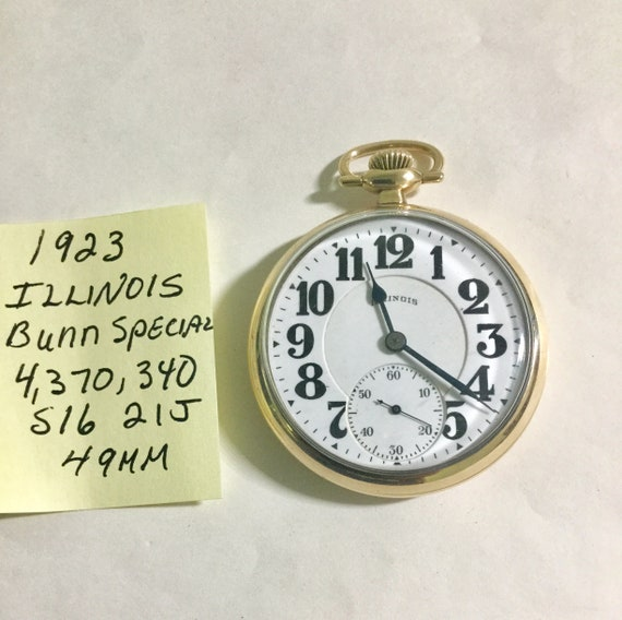 1923 Illinois Bunn Special Pocket Watch 21J 16S 49mm Running