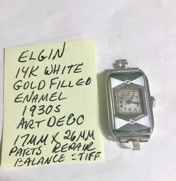 1930s Elgin Art Deco Gold Filled Enamel Ladys Watch Parts or Repair 17mm by 26mm