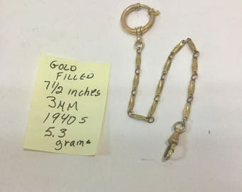 1940s Gold Filled Pocket Watch Chain 7 1/2 inches 3mm 5.3 grams