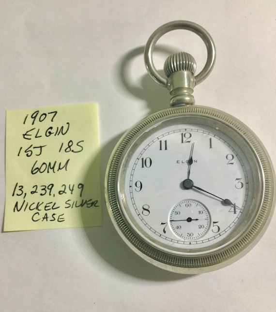 1907 Elgin Pocket Watch 15J 18S 60mm Nickel Silver Case Running