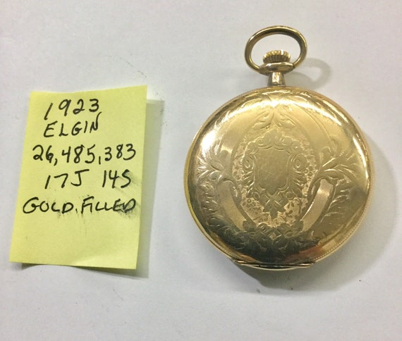 1923 Elgin Pocket Watch Gold Filled Hunting Case 17J 14S Running 26,485,383 47mm