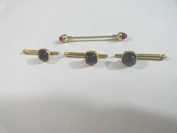Vintage Tie Bar with 3 Tuxedo Studs Dark Wine Color Tie Bar 1 1/2 Inches