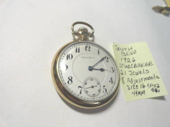 1926 South Bend Studebaker Pocket Watch Gold Filled Case 21 Jewels 8 Adjustments Size 16 49mm