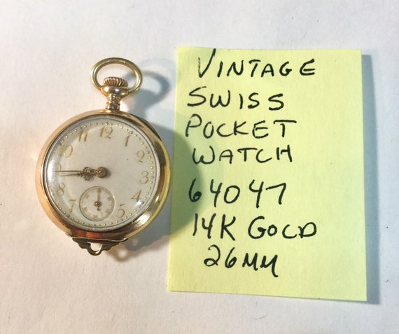 Vintage Swiss 14K Solid Gold Pocket Watch 26mm Running 64047
