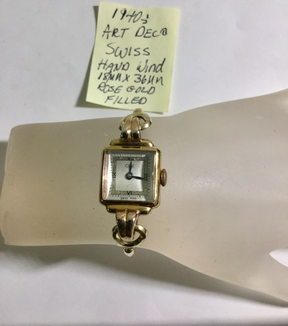 1940s Art Deco Ladys Hand Wind Rose Gold Filled Wristwatch and Band