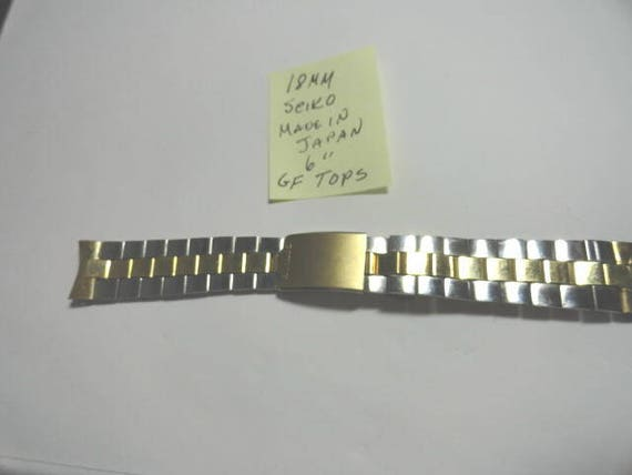 Vintage Seiko Gold Filled and Stainless Oyster Style Band 18mm Ends 6 Inches long