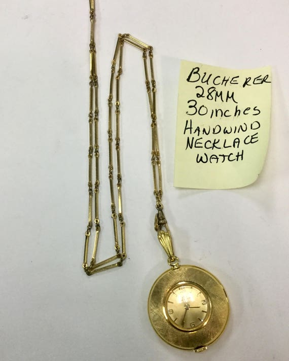 1960s Bucherer Gold Filled Necklace Watch with chain 28mm 30 inches