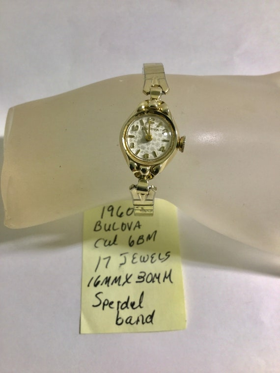 1960 Lady's Bulova Hand Wind Wrist Watch 17J 16mm by 39mm