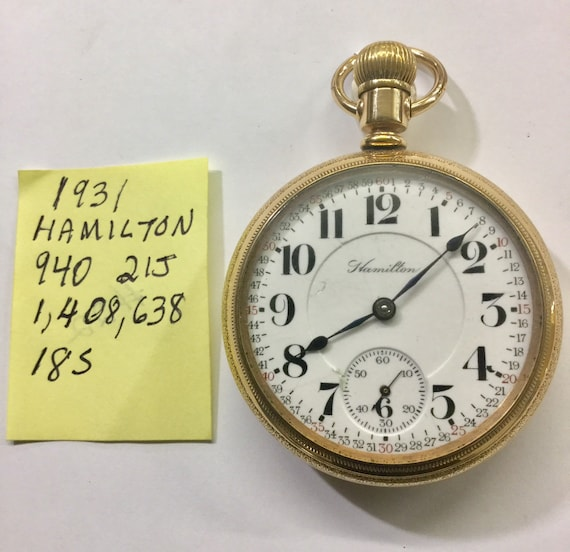 1931 Hamilton 21J Grade 940 Railroad Pocket Watch 18S 1,408,638 Running 54mm