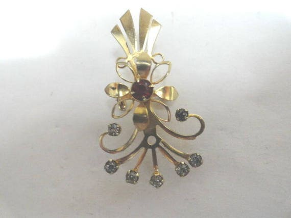 Vintage Gold Tone Lapel  Watch Brooch  with Rhinestones 2 inches by 1 1/4 inches