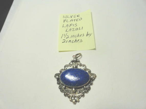 Vintage 1950s  Lapis Lazuli Silver Plated Pendant 1 1/2 inches wide 2 inches high