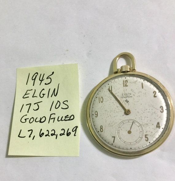 1945 Elgin Pocket Watch 17J 10S Gold Filled 43mm