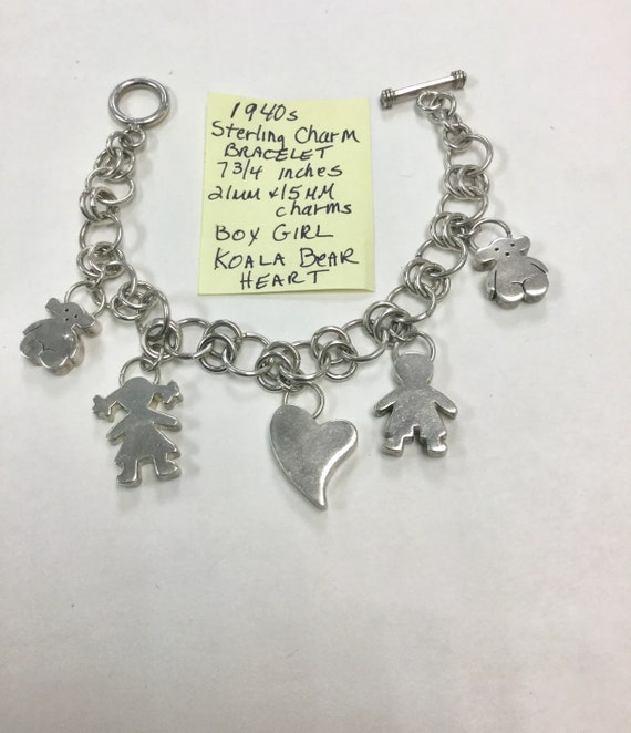 1940s Sterling Silver Charm Bracelet with Boy Girl Koala Bears and Heart Charms 7 3/4 inches