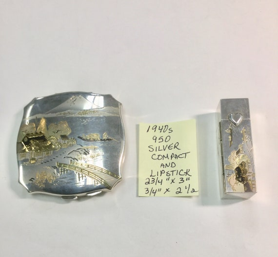 1940s Asian 950 Silver Compact and Matching Lipstick Engraved Asian Scene