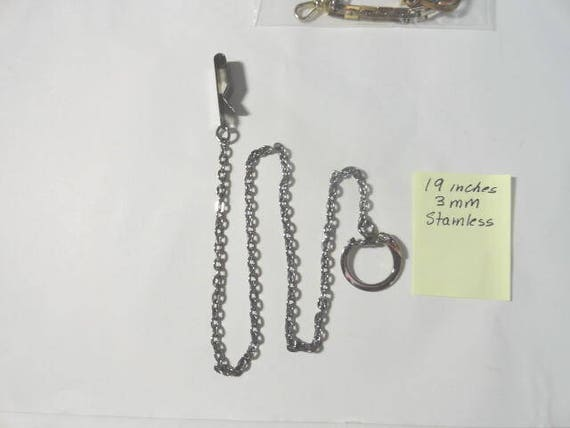 Vintage 1960s Pocket Watch Chain Stainless Steel 19 inches 3mm