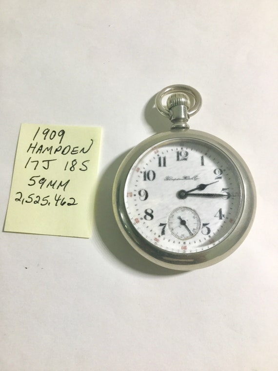 1909 Hampden Pocket Watch 17J 18S 59mm Running