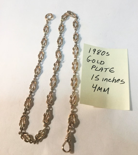 1980s Pocket Watch Chain Gold Plate 15 Inches 4mm