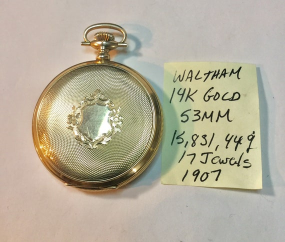 1907 Waltham Pocket Watch 14K Solid Gold Hunting Case 17J 53mm Running