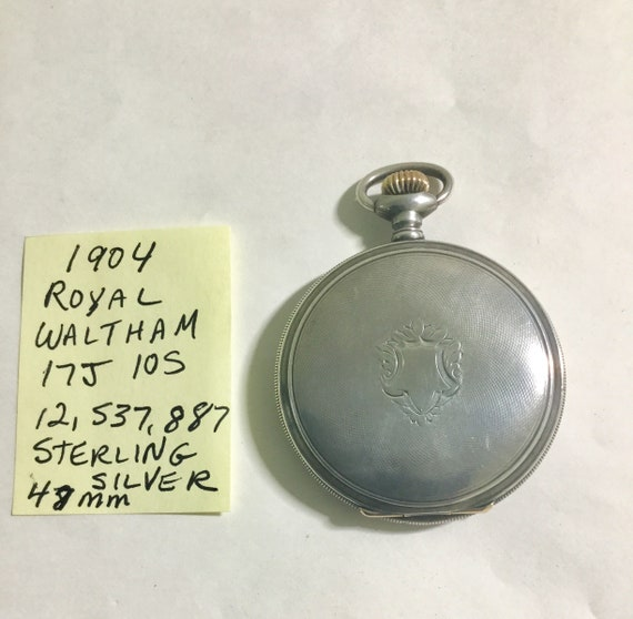 1904 Waltham Royal Pocket Watch 17J 10S Sterling Silver Hunting Case 48mm Running