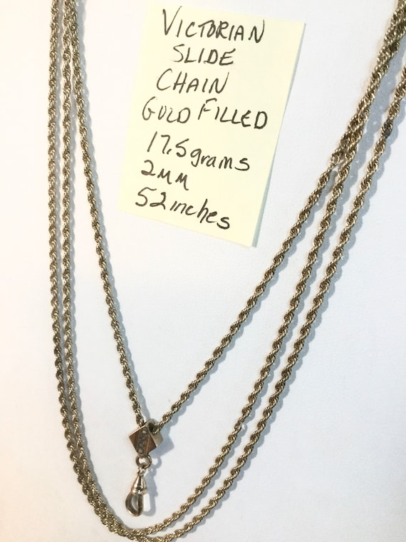Victorian Gold Filled Slide Chain Lavalier 52 inches 2mm 17.5 grams