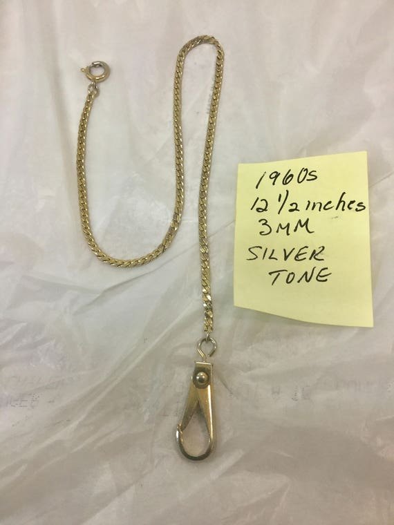 1960s Silver Tone Pocket Watch Chain 12 1/2 inches 3mm