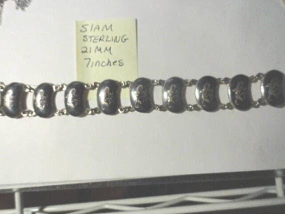 Vintage Siam Sterling Silver Link Bracelet 21mm 7 Inches Long 28.4 Grams