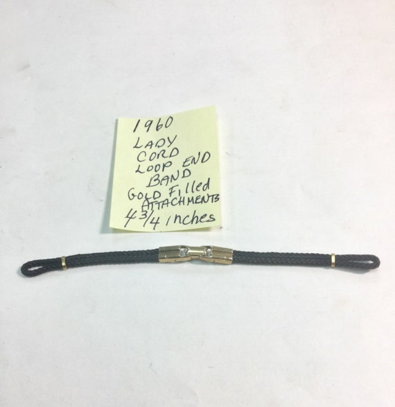 1960s Ladys Cord Loop End Band Gold Filled Attachments 4 3/4 inches