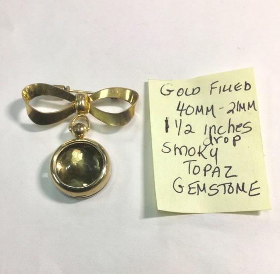 1950s Gold Filled Watch Brooch with Smoky Topaz Gemstone Insert 40mm 1 1/2 inch drop