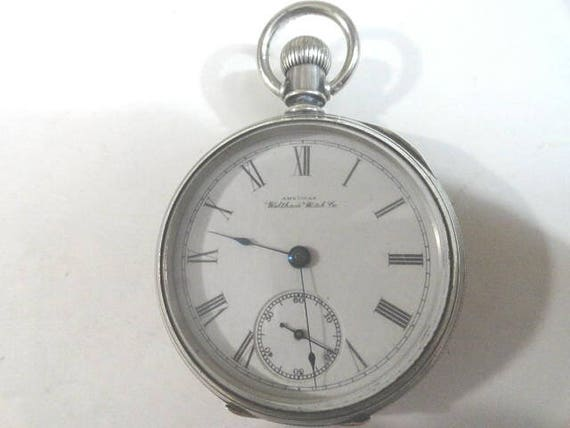 1891 Waltham Pocket Watch 18 Size Coin Silver Case 15 Jewel Running  55mm