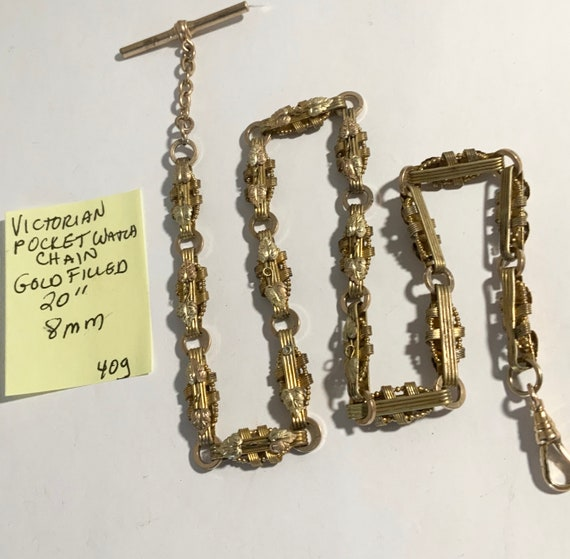 "Fancy Victorian Gold Filled Pocket Watch Chain 20"" 8mm 40gr"